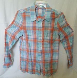 GAP Plaid Orange/Blue shirt